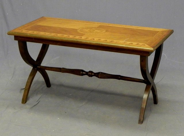 63: Inlaid Carved Mahogany Coffee table, 20th c., with