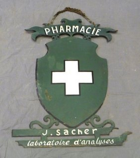 Unusual French Tole Pharmacy Hanging Sign, 19th C.,