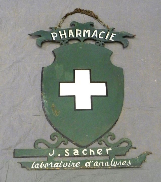 64: Unusual French Tole Pharmacy Hanging Sign, 19th c.,