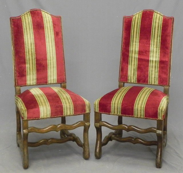 68: Pair of Louis XIII Style Carved Birch Upholstered S