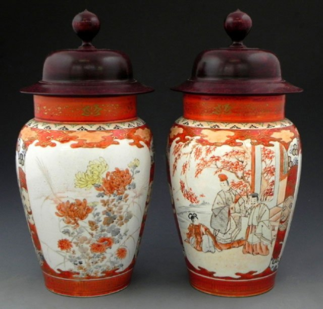 69: Pair of Japanese Kutani Vases, 19th c., of tapered-
