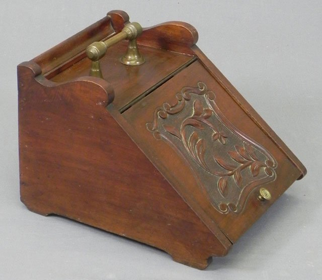 72: English Carved Mahogany Coal Hod, 19th c., with a b
