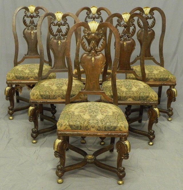 74: Set of Six Carved Mahogany Upholstered Side Chairs,