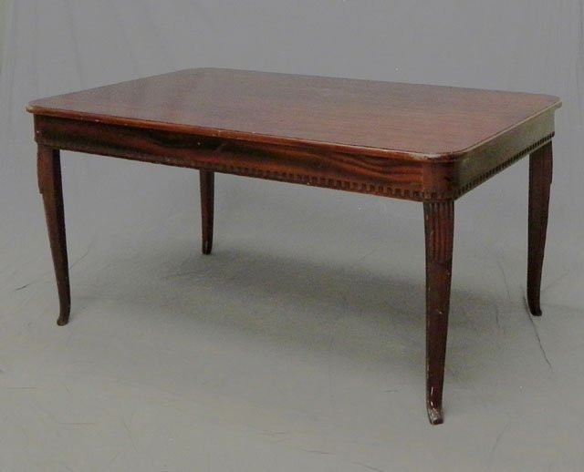 75: French Carved Mahogany Dining Table, c. 1930, the t