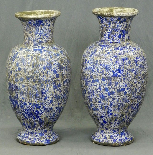 81: Pair of Continental Style Glazed Terracotta Footed