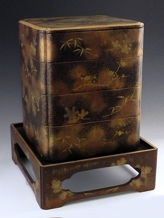92: Japanese Lacquered Four Part Bento Box, 20th c., on