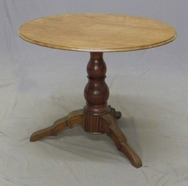 93: Carved Mahogany Circular Center Table, c. 1879, the