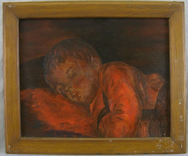 "95: File, ""Sleeping Child,"" 20th c., oil on canvas, sig"