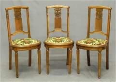 184 Set of Three Art Deco Carved Walnut Louis XVI Styl