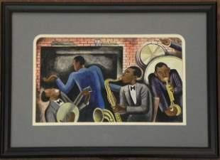 "328: Aaron Johnson, ""Negro Jazz Band,"" 1954, watercolor"