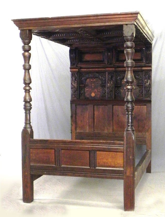488: Inlaid Carved Mahogany Jacobean Style Tester Bed,