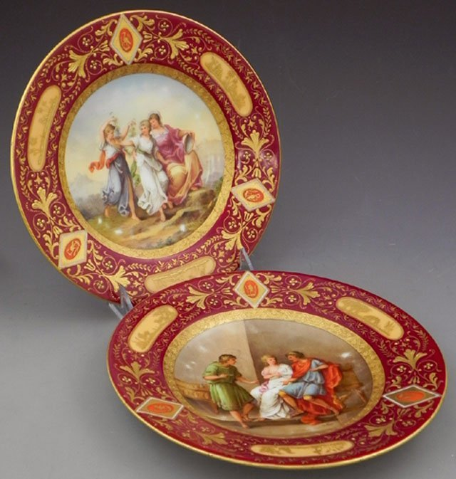660: Pair of Austrian Royal Vienna Cabinet Plates, earl