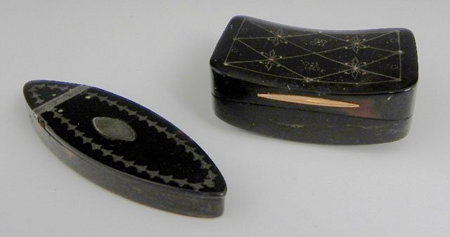 751: Two Tortoise Shell Boxes, 19th c., consisting of a