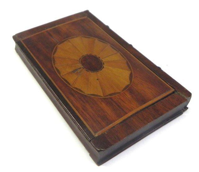 752: Georgian Inlaid Mahogany Pocket Mirror, c. 1810, o