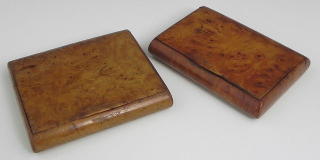 757: Two English Burled Walnut Snuff Boxes, 19th c.