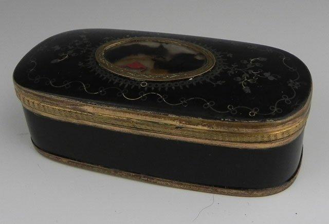 760: Oval Papier Mache Snuff Box, 19th c., with silver
