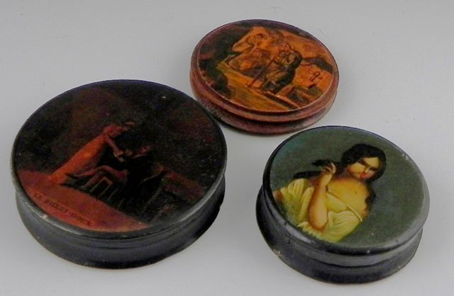 761: Group of Three Circular Snuff Boxes, 19th c., one