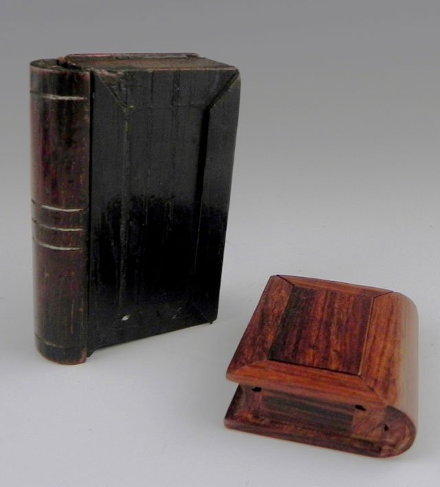762: Two Carved Wooden Book Form Snuff Boxes, 19th c.,