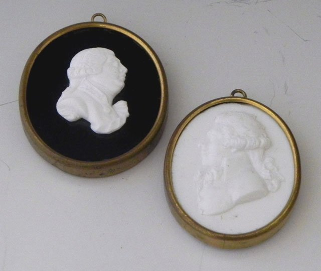 764: Two Georgian Carved Marble Male Cameos, c. 1810, i
