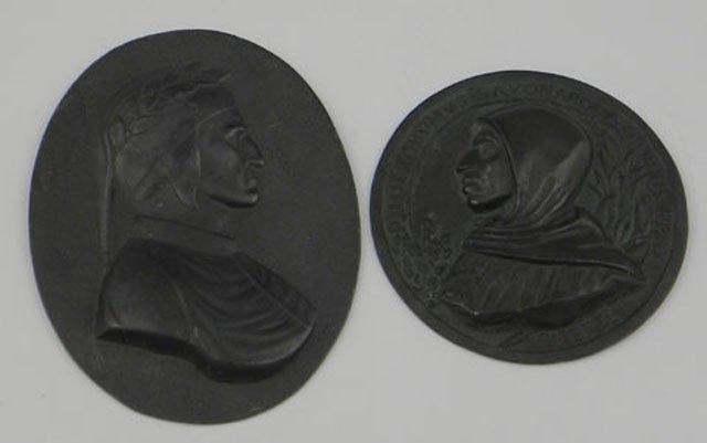 765: Two Patinated Cast Lead Portrait Plaques, of Dante