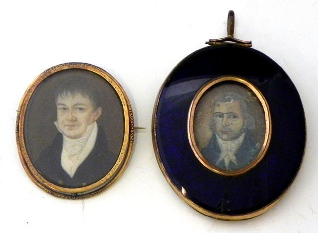 766: Two Miniatures, 19th c., of males, one English, c.
