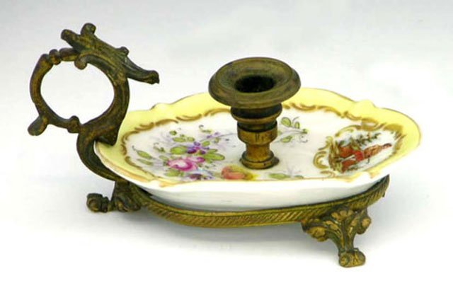 767: Sevres Style Porcelain and Bronze Chamberstick, c.