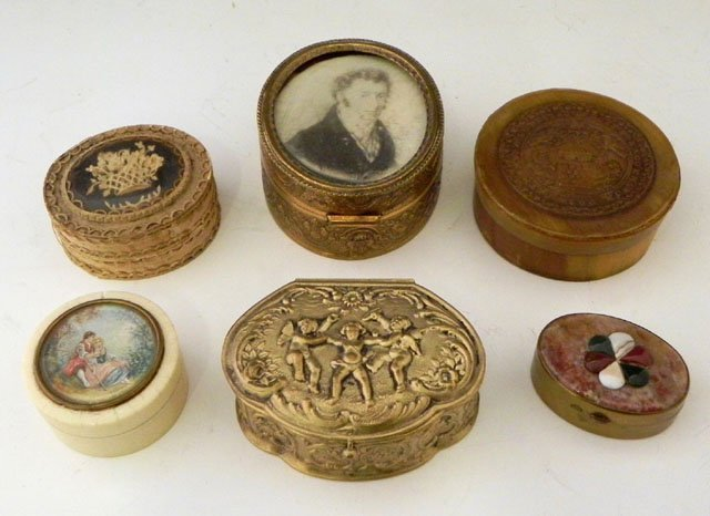 768: Group of Six Boxes, consisting of a circular ivory