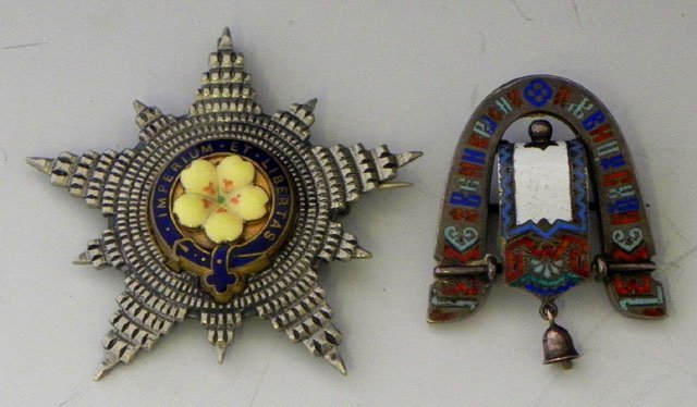 772: Two Brooches- A Russian sterling and enamel exampl