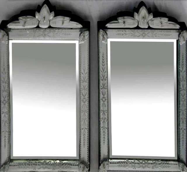 777: Pair of Venetian Style Etched Glass Mirrors, 20th