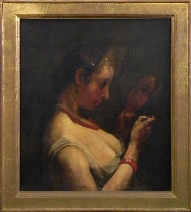 """794: James Tauer, """"Woman with a Mirror,"""" early 19th c.,"""
