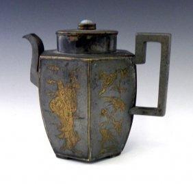 Chinese Hexagonal Pewter Teapot, 19th C., Each Pan