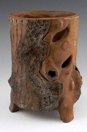 Oriental Pierced Clay Tree Trunk Vase, C. 1880, On