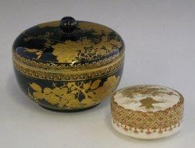 Two Oriental Circular Porcelain Boxes, C. 1900, On