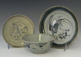 Group Of Three Pieces Of Oriental Porcelain, 19th