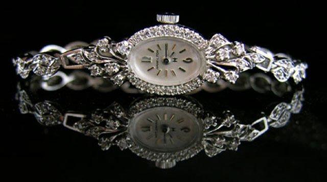 888: Lady's 14K White Gold Hamilton Wristwatch, mid 20t