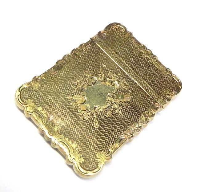 891: 14K Yellow Gold Calling Card Case, 19th c, with en