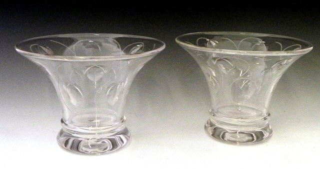 990: Pair of Cut Crystal Campana Form Vases, by Stuart,