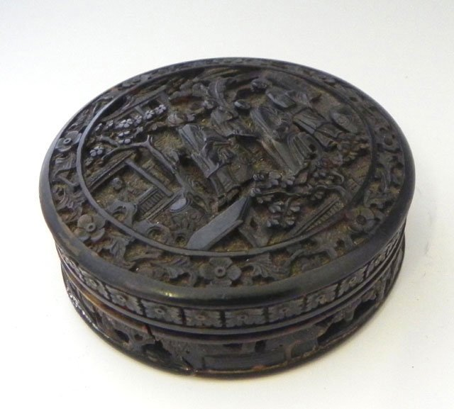 1049: Chinese Carved Tortoise Shell Circular Patch Box,