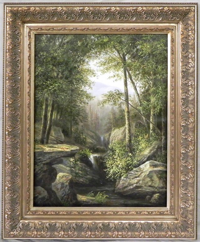 """1076: American School, """"Waterfalls in the Forest,"""" 20th"""