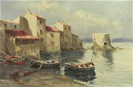 "1079: French School, ""Harbor Scene,"" 19th c., oil on ca"