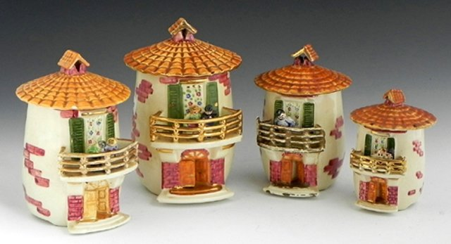 2: Unusual Set of Four French Provincial Ceramic Spice