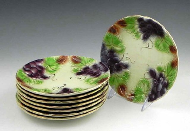 4: Set of Eight Majolica Fruit Plates, 19th c., with po