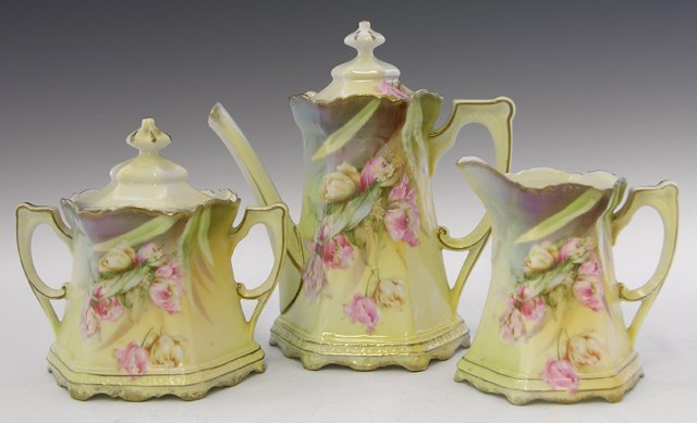9: Three Piece R. S. Prussia Coffee Set, c. 1890, consi