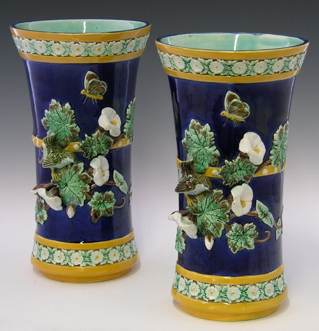 11: Pair of Continental Majolica Waisted Vases, late 19