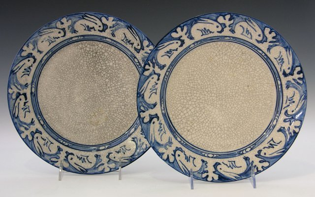 16: Pair of Dedham Pottery Plates, early 20th c., the b