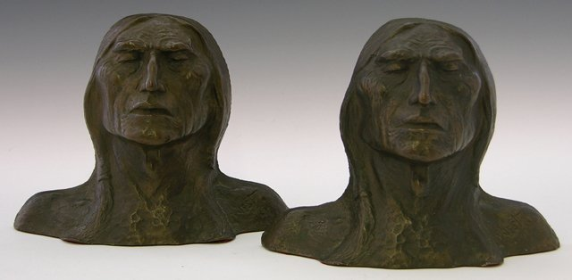 "19: West, ""Indians,"" 20th c., pair of bronze bookends,"