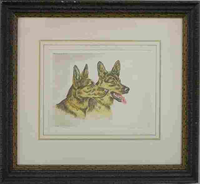 """61: Paul Wood, """"German Shepherd Dogs,"""" 20th c., pair of"""