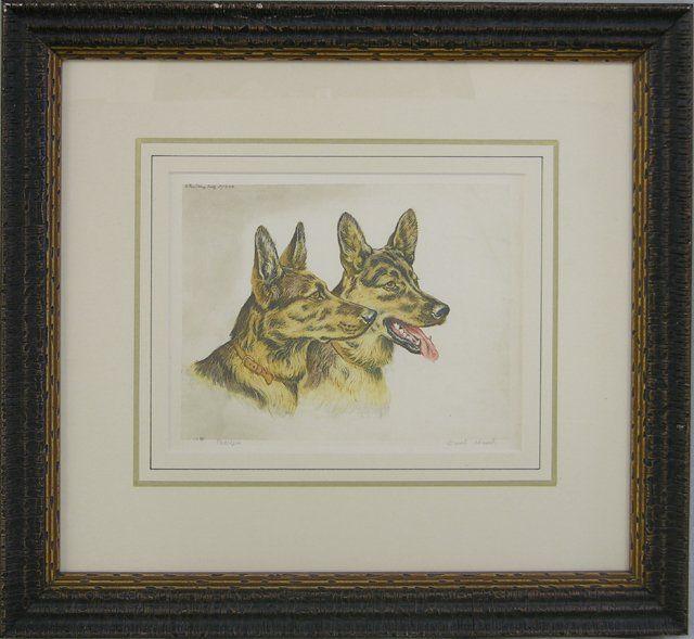 """Paul Wood, """"German Shepherd Dogs,"""" 20th c., pair of"""