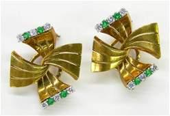 231: Pair of 18K Yellow Gold Art Deco Clip Earrings, c.