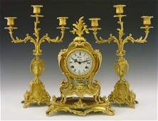 479 Louis XV Style Three Piece Gilt Bronze Clock Set